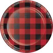 """Lumberjack Plaid 7"""" Cake Plates (8)"""