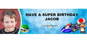 Mario Kart Wii - Toad Personalized Photo Vinyl Banner