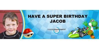 Mario Kart Wii - Yoshi Personalized Photo Vinyl Banner