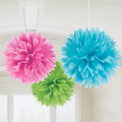 "Multi-Color 16"" Fluffy Decorations (3)"