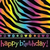 Neon Birthday Beverage Napkins (16)