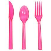 Neon Pink Plastic Cutlery