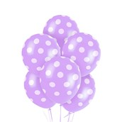 New Lavender with White Polka Dots Latex Balloons