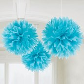 "Ocean Blue 16"" Fluffy Decorations (3)"