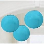 Ocean Blue Round Paper Lanterns (3)