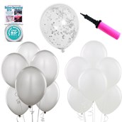 Ombre Balloon Kit - Silver & White