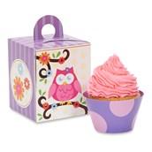 Owl Blossom Cupcake Wrapper & Box Kit