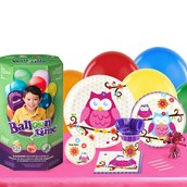 Owl Blossom 16 Guest Kit with Tableware and Helium Kit