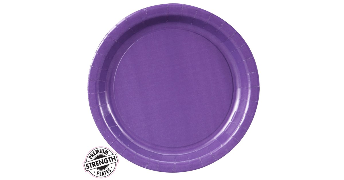 purple paper plates Pack of 20 deep purple paper plates deep purple plates measure  approximately 18cm (7) in diameter ideal for serving cake or appetisers at a  birthday party,.