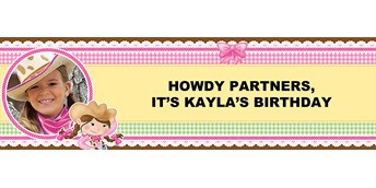 Pink Cowgirl Personalized Photo Vinyl Banner