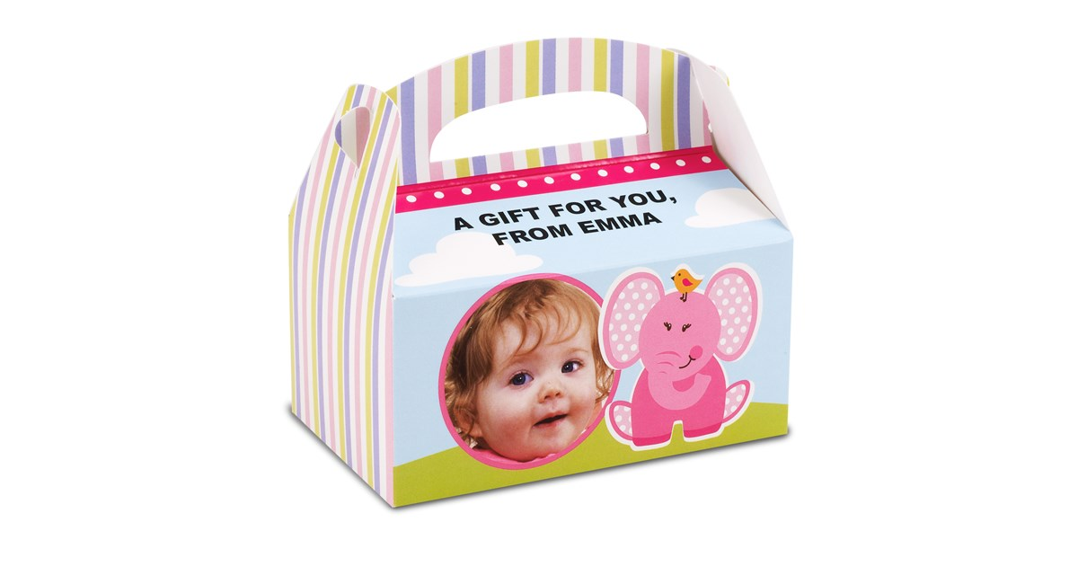 Personalized 1st Birthday Favor Boxes : Pink elephants st birthday personalized empty favor boxes