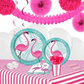 Pink Flamingo Party 16 Guest Tableware & Deco Kit