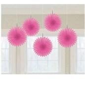 Pink Mini Hanging Fan Decorations