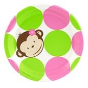 Pink Mod Monkey Dinner Plates