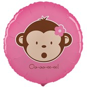 Pink Mod Monkey Foil Balloon