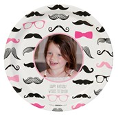 Pink Mustache Personalized Dinner Plates (8)