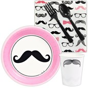 Pink Mustache Snack Party Pack