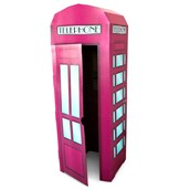 Pink Phone Booth Cardboard Stand - 6' Tall
