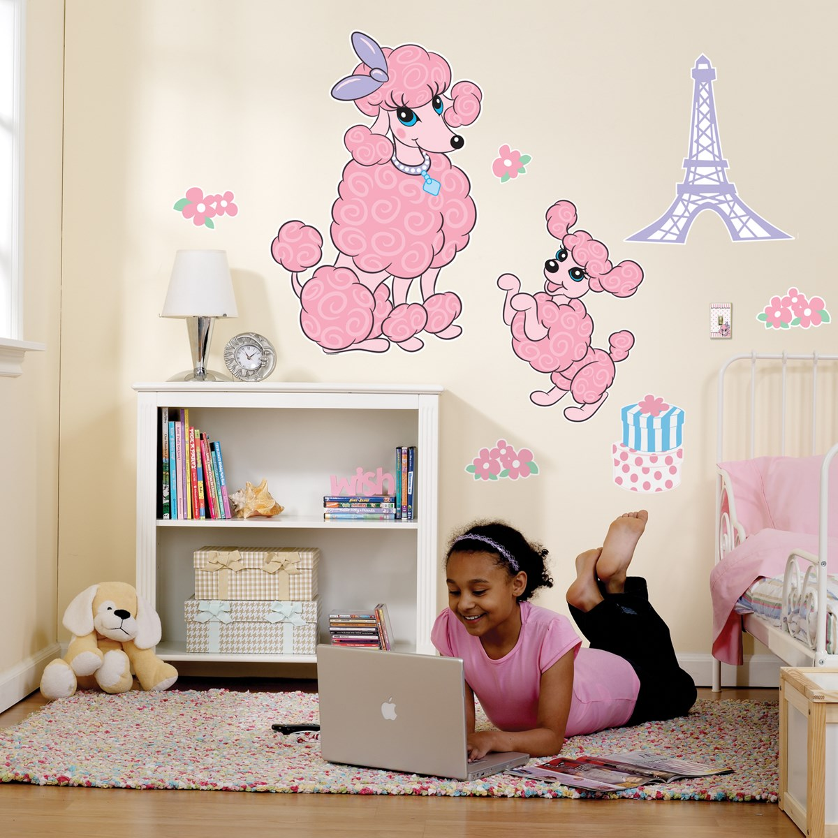 Pink poodle in paris giant wall decals birthdayexpress amipublicfo Choice Image