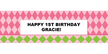 Pink Preppy Personalized Vinyl Banner