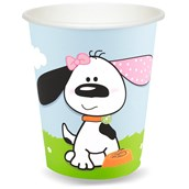 Playful Puppy Pink 9 oz. Paper Cups