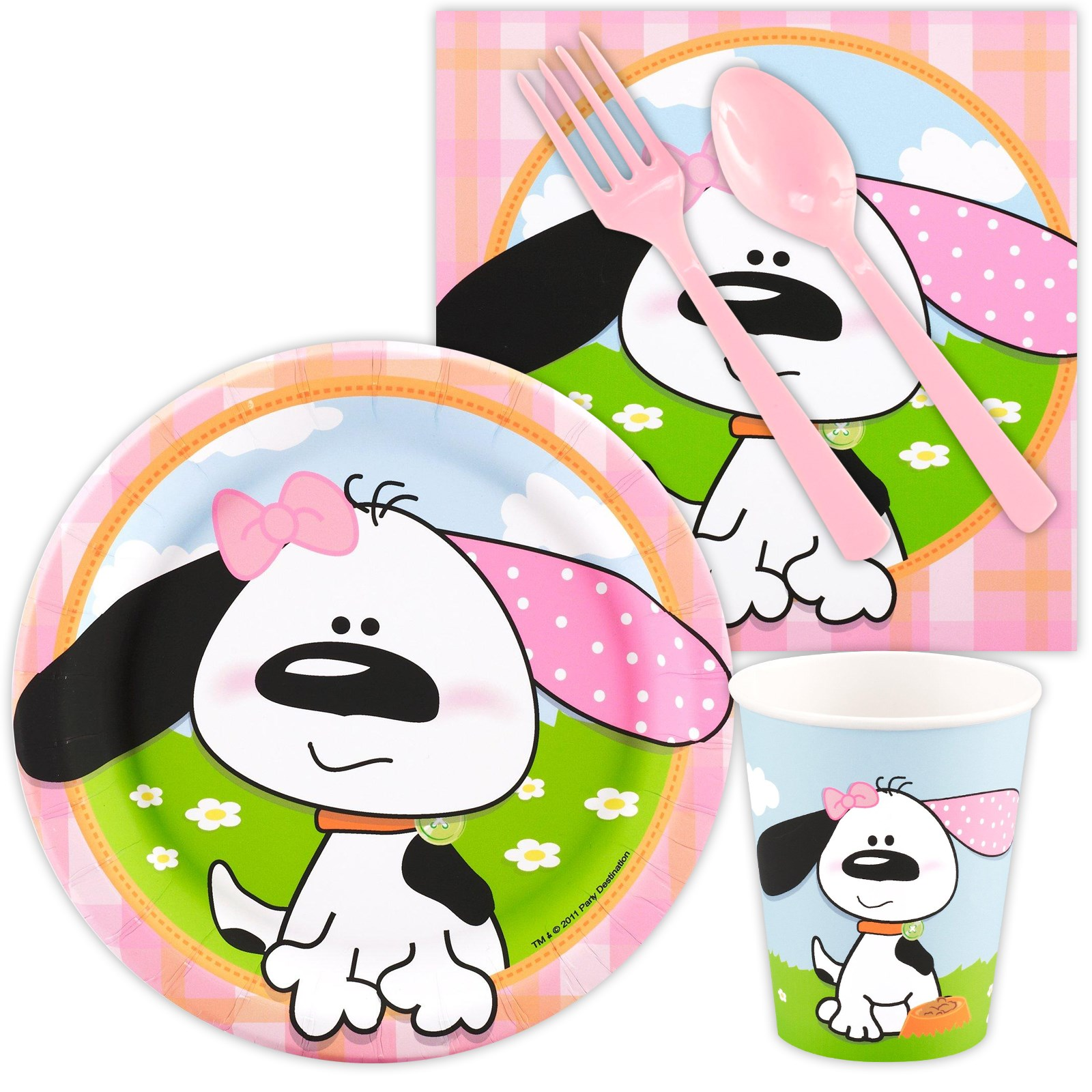 Playful Puppy Pink Snack Party Pack kids birthday partyware