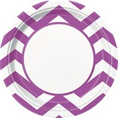 Pretty Purple Chevron Dinner Plates (8)