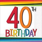 Rainbow 40th Birthday Beverage Napkins