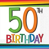 Rainbow 50th Birthday Beverage Napkins