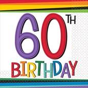 Rainbow 60th Birthday Beverage Napkins