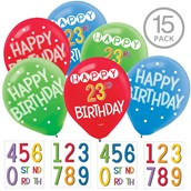 Rainbow Happy Birthday Add-Any-Age Latex Balloons (15 Count)