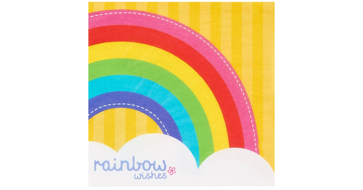 Rainbow Wishes Lunch Napkins | BirthdayExpress.com