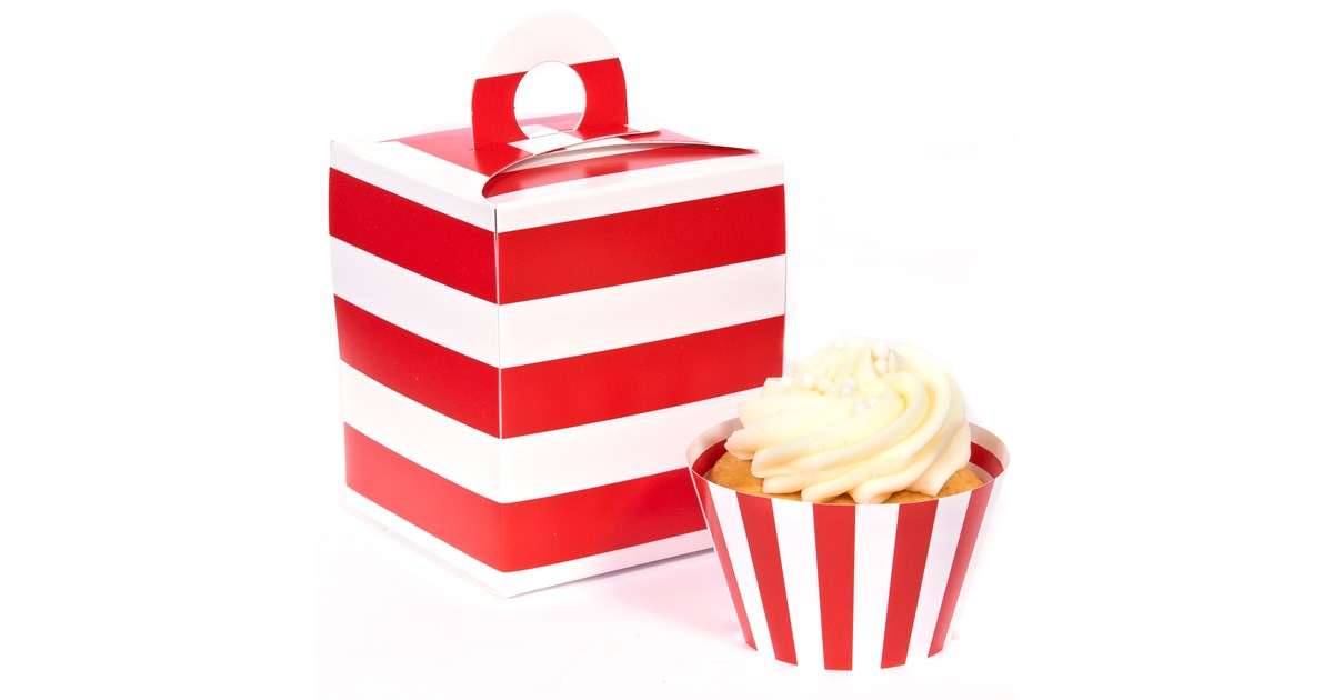 Red And White Striped Cupcake Wrapper Amp Box Kit