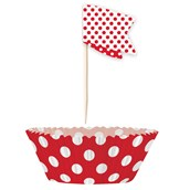 Red Dot Cupcake Wrappers with Picks