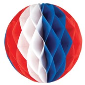 """Red, White and Blue 12"""" Honeycomb Ball"""