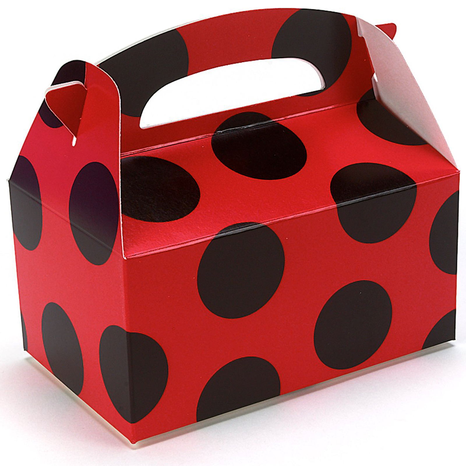 Red with Black Dots Empty Favor Boxes | BirthdayExpress.com