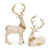 Resin Deer w/ Holly (2)