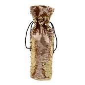 Rose Gold & Gold Reversible Sequin Wine Bag