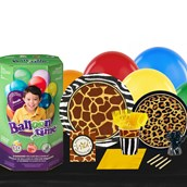 Safari Animal Adverture 16 Piece Tableware & Helium Tank