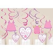 Shower With Love Baby Girl Foil Swirl De