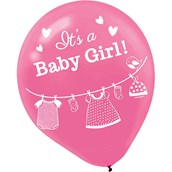 Shower With Love Baby Girl Latex Balloon