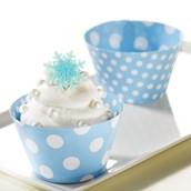 Snowflake Winter Wonderland Cupcake Wrapper & Pick Kit