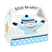 Sock Monkey Blue Empty Favor Boxes (4)