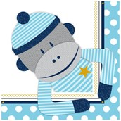 Sock Monkey Blue Lunch Napkins (20)
