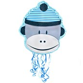 Sock Monkey Blue Pull-String Pinata
