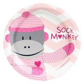 Sock Monkey Pink Dessert Plates (8)