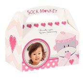 Sock Monkey Pink Personalized Empty Favor Boxes (8)