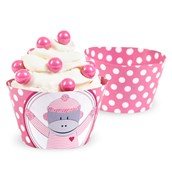 Sock Monkey Pink Reversible Cupcake Wrappers (12)