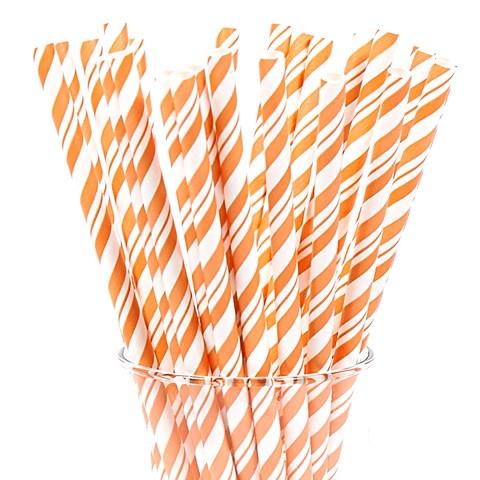 Orange Black Striped Paper Straws