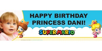 Super Mario Bros. Babies Girl Personalized Photo Vinyl Banner